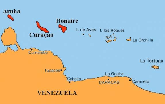 Mapa mostrando as ilhas ABC - Aruba, Bonaire e Curaçao e ...
