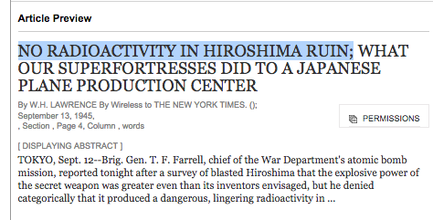 "1945 New York Times Lies: ""No Radioactivity in Hiroshima Ruin"""