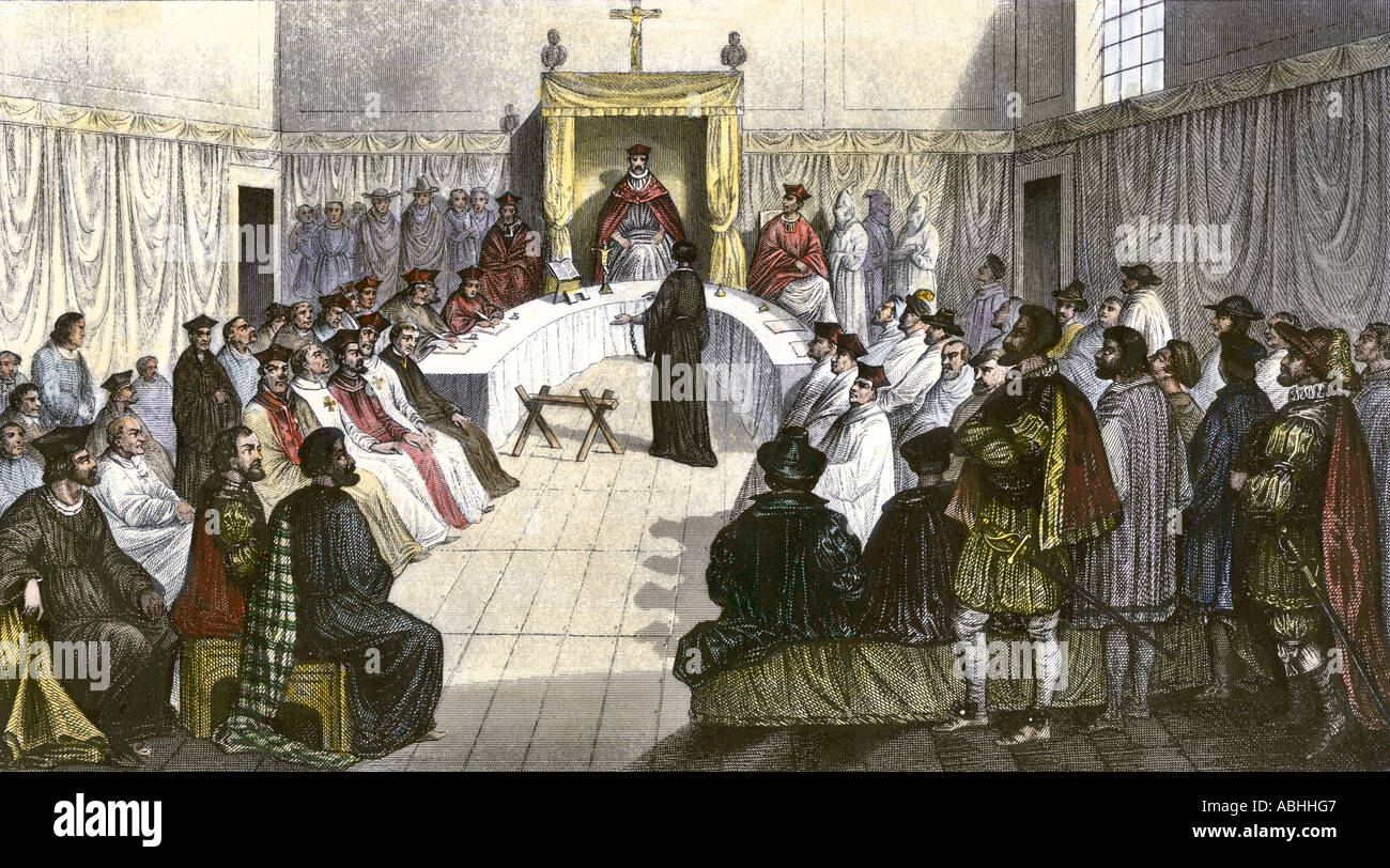 Trial for heresy during the Spanish Inquisition Stock ...