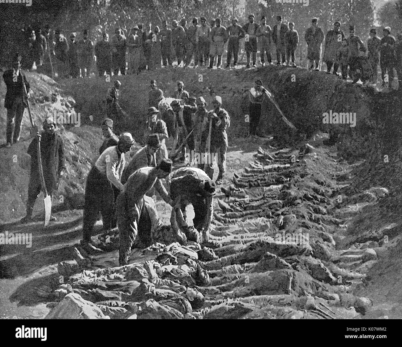 Armenian genocide. A trench dug for the bodies of victims ...