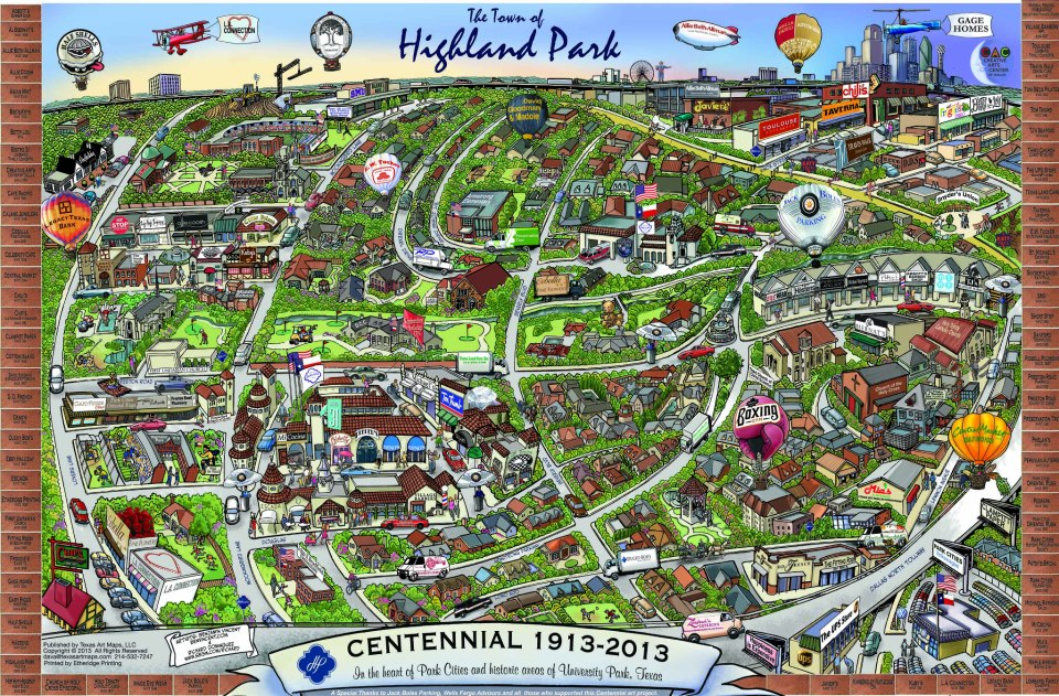 Map of the Town of Highland Park, Tx. by Richard-E ...