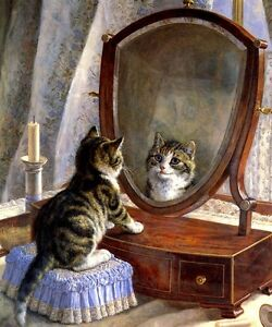 FAIREST OF THEM ALL KITTY CAT LOOKING AT MIRROR PAINTING BY FRANK PATON REPRO | eBay