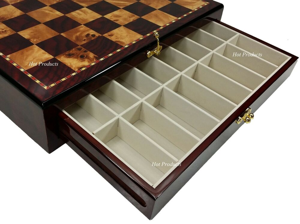 "LARGE 20"" HIGH GLOSS STORAGE CHESS BOARD Cherry & Burlwood Color 2 DRAWERS 