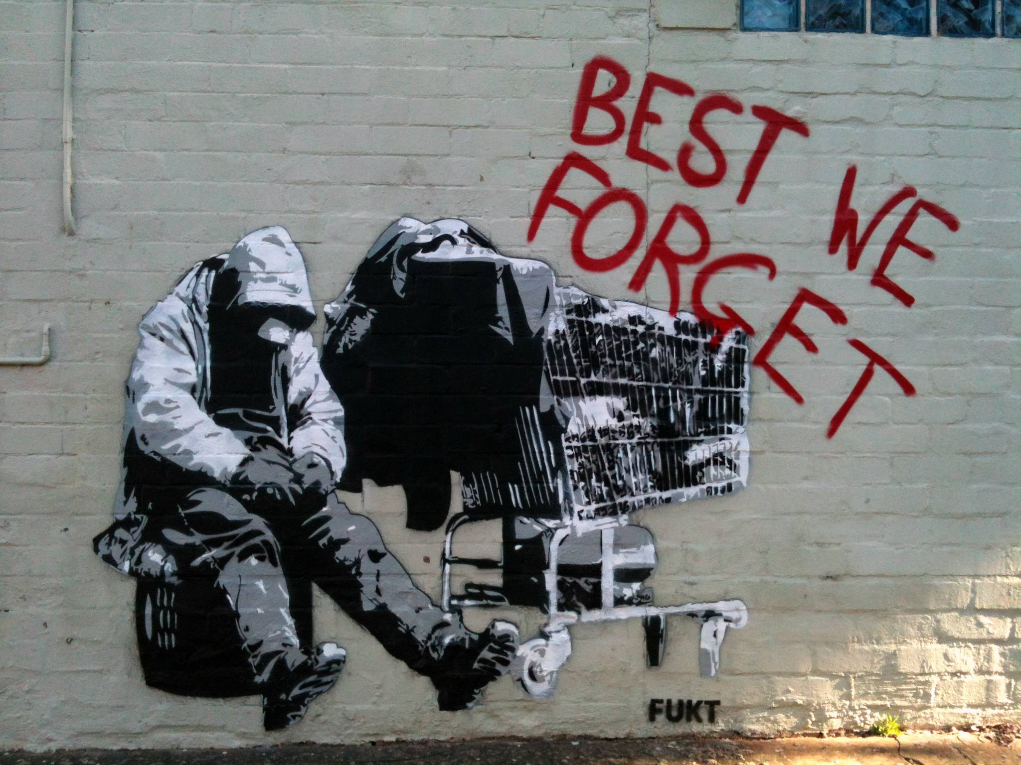 Best We Forget, homeless stencil in Camperdown, Sydney NSW : Graffiti