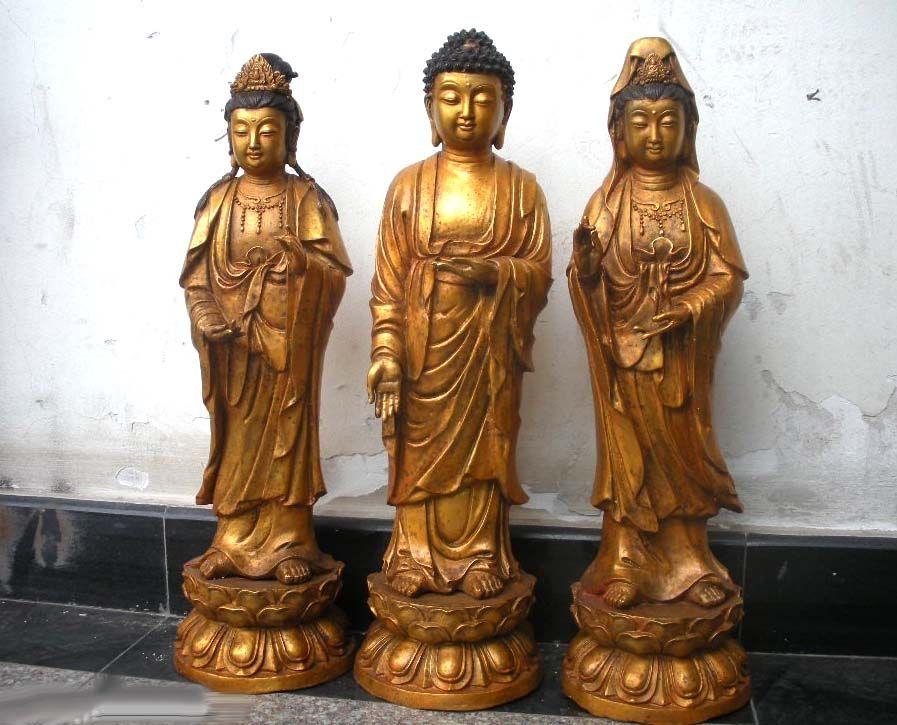 23China Buddhism Bronze Gild Three Bodhisattva Sakyamuni ...