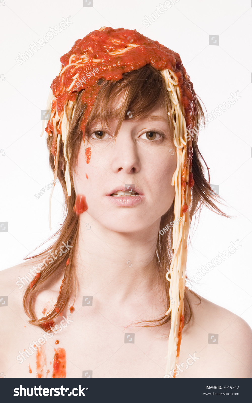 Red Haired Girl With A Meal Of Spaghetti On Her Head Stock ...