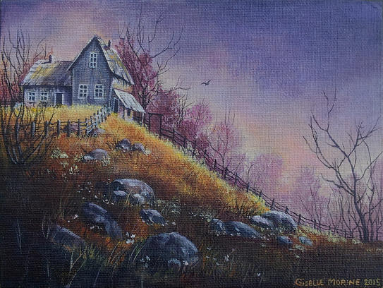 House on the Hill - acrylic painting by Giselle-M on ...