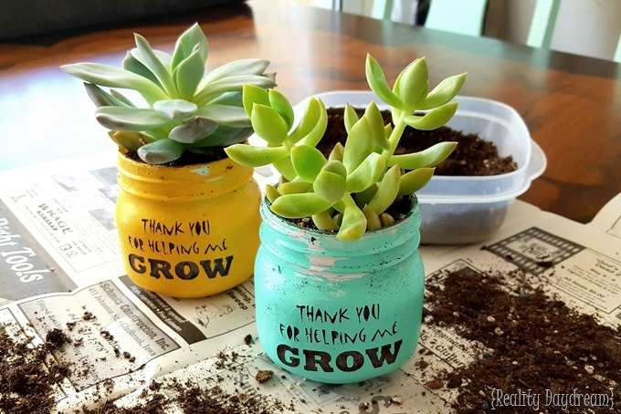 Teachers Day Succulent Idea - 'Thank you for helping me ...
