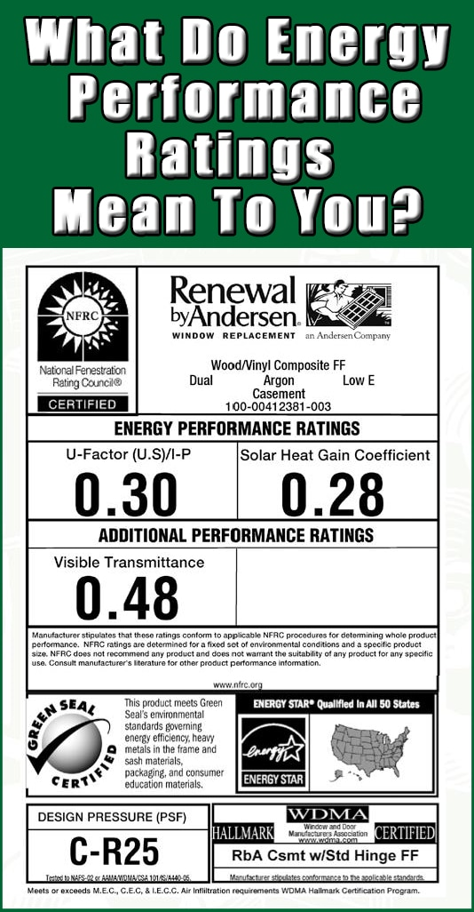 Performance Rating for Replacement Windows