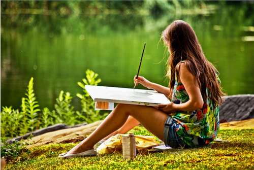beautiful, girl, lake, painting, park - image #305925 on ...