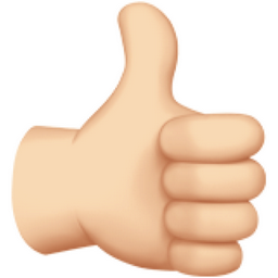 Thumbs Up: Light Skin Tone Emoji (U+1F44D, U+1F3FB)