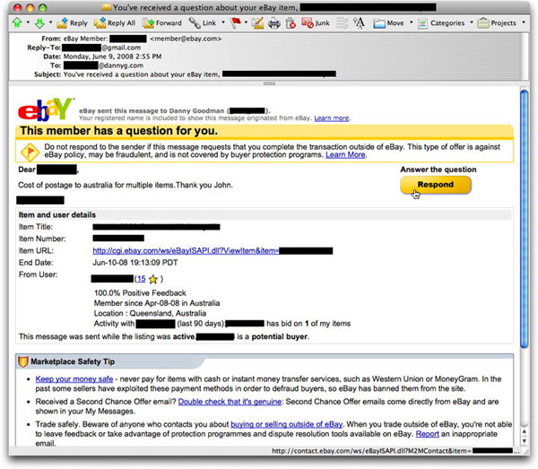 Ebay messages – Gummigranulat mikroplast