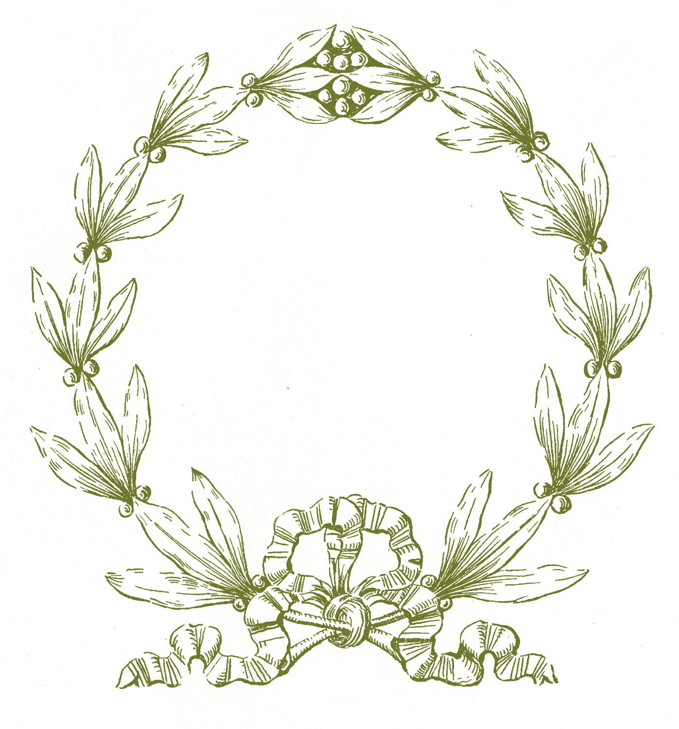 Vintage Christmas Clip Art - Laurel Wreath Frame - The ...