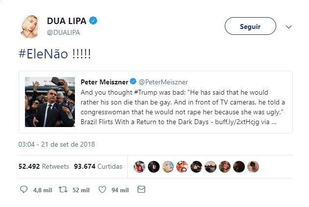 """""""#EleNão"""": Cantora Dua Lipa entra na campanha contra ..."""