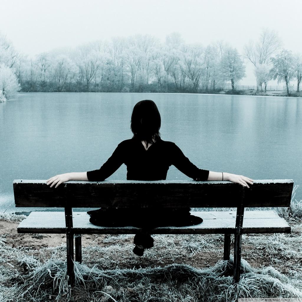 Woman Sitting Alone On A Bench 4K HD Desktop Wallpaper for ...