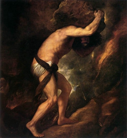 Myth of Sisyphus, the myth for the punishment of Sisyphus