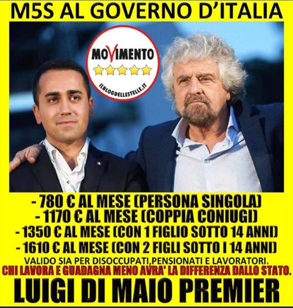 IL REDDITO DI CITTADINANZA DEL M5S E' IL PIU' GRANDE FRA I ...