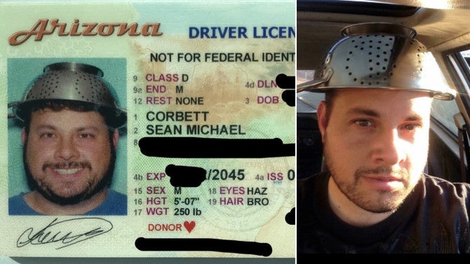 'Pastafarian' Photographed in Driver's License Wearing ...