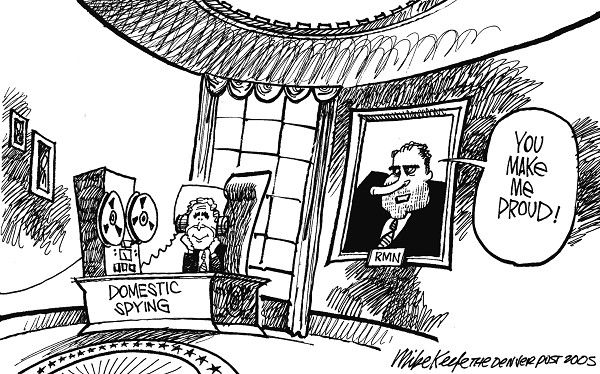 Nixon Proud - Mike Keefe Political Cartoon, 12/21/2005