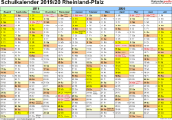 Schulkalender 2019/2020 Rheinland-Pfalz für PDF