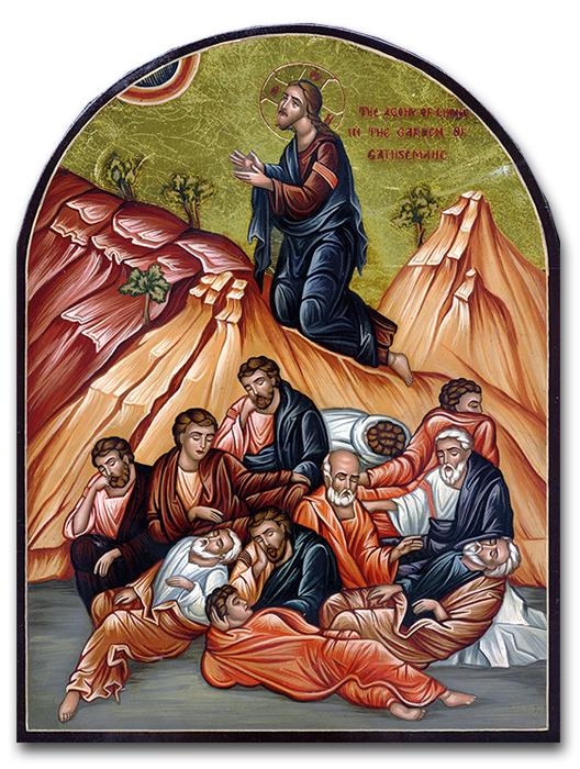Hand-Painted Icon of Jesus' Prayer in Gethsemane Garden