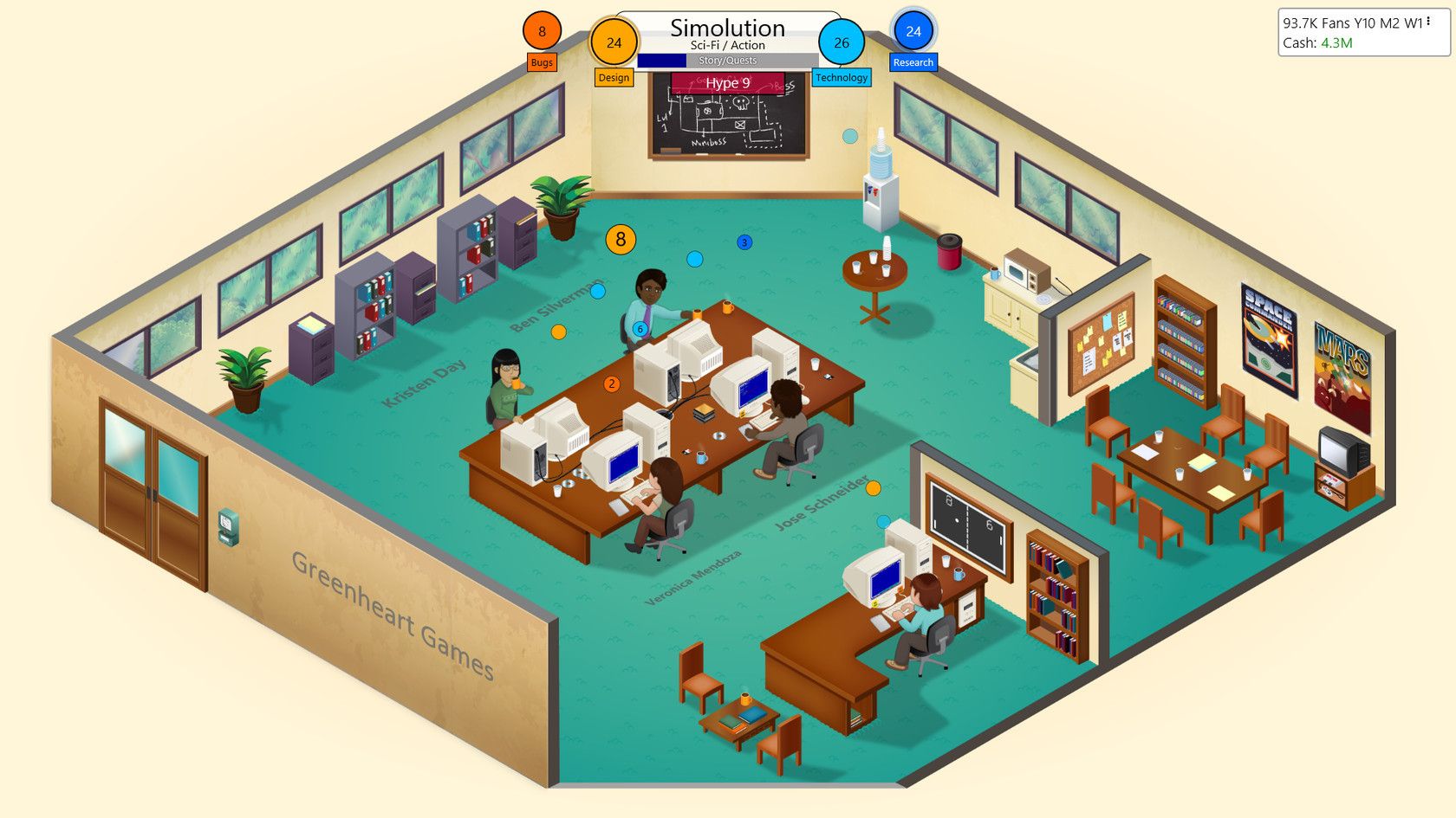 Game Dev Tycoon offline sim strategy video game.