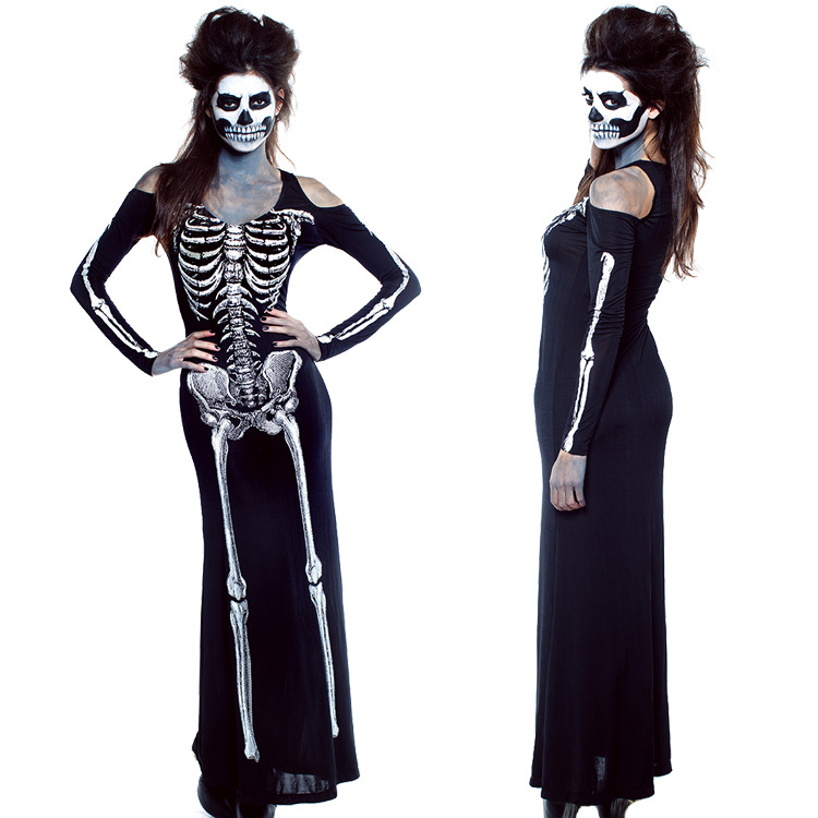 Girl Halloween Skull Cosplay Clothes Skeleton Dress Witch ...