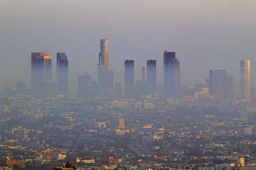 Los Angeles Air Pollution | Los Angeles skyline sunset ...