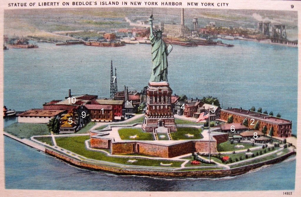 Statue of Liberty and Fort Wood Garrison Post   This postcar…   Flickr