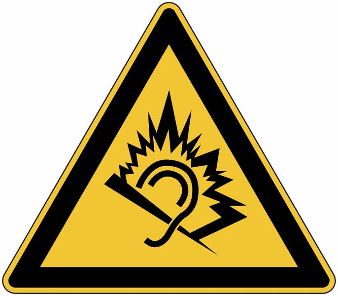"""Panneau de danger en aluminium """"Traumatisme par le bruit ..."""