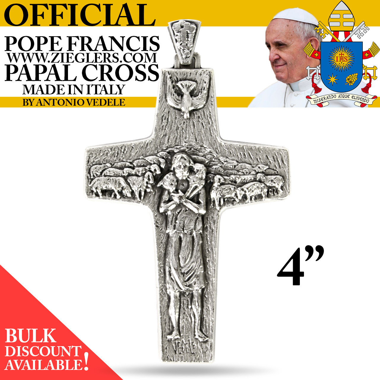 Official Pope Francis Pectoral Papal Cross | 4"