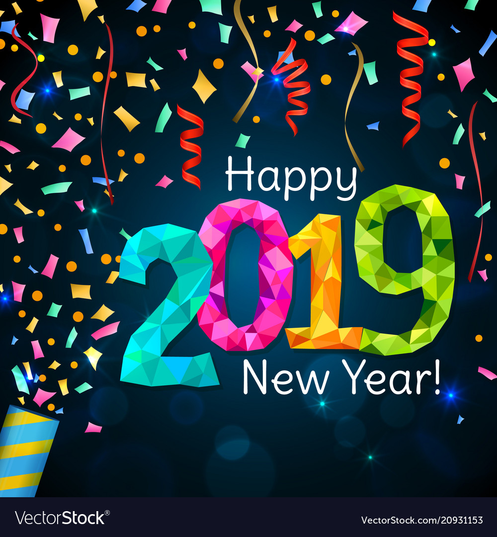 Happy new year 2019 Royalty Free Vector Image - VectorStock