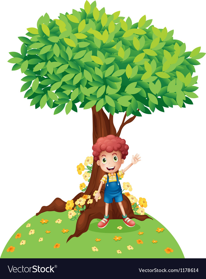 A young boy standing under a big tree Royalty Free Vector