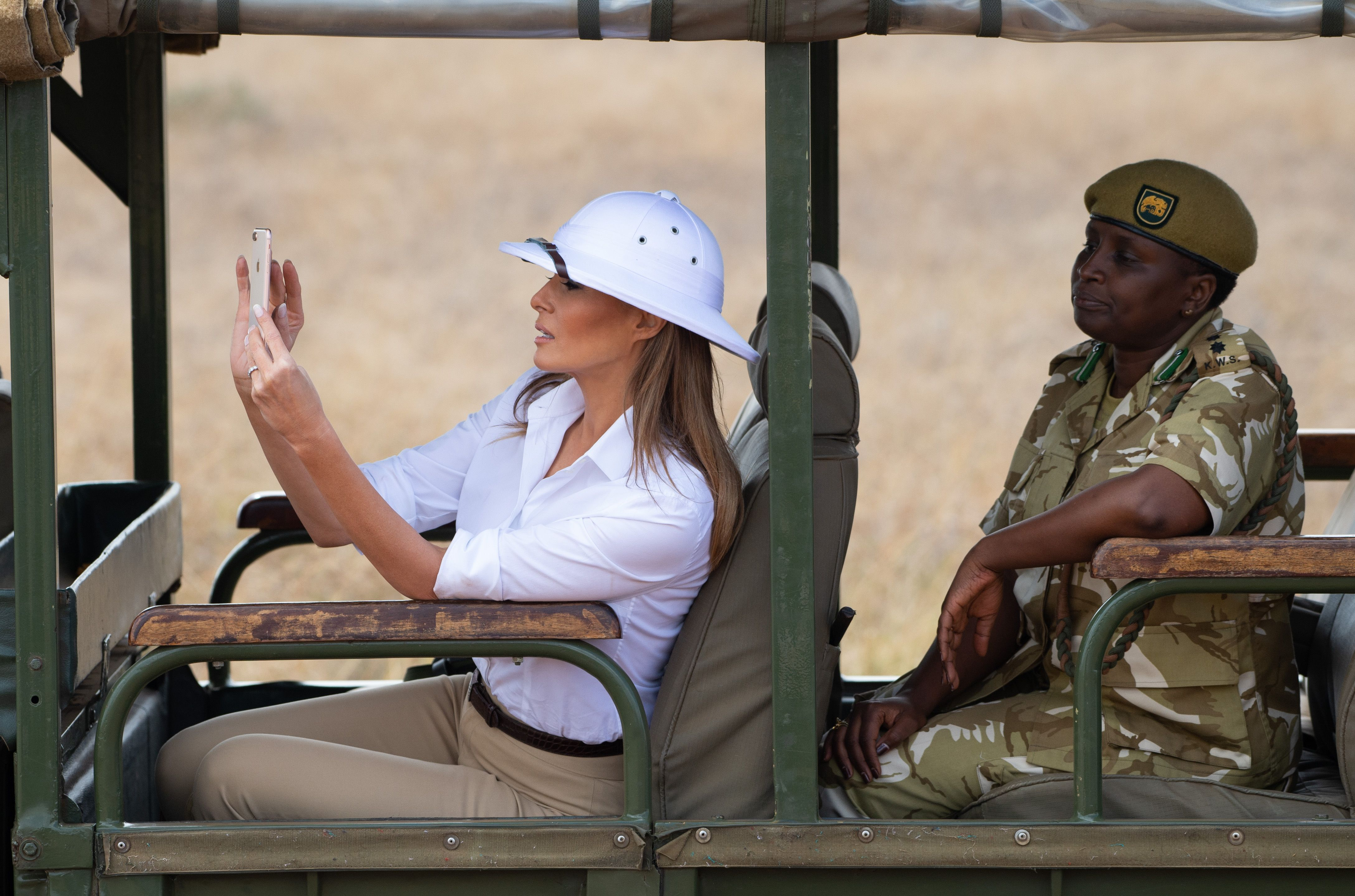 Flipboard: Melania Trump criticised for wearing controversial colonial-era hat during her trip ...