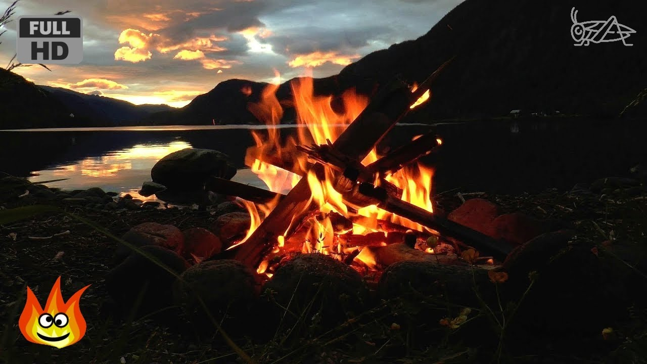 Lakeside Campfire with Relaxing Nature Night Sounds (HD ...