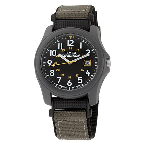 Timex Men's Expedition Black Dial Green and Black Nylon ...