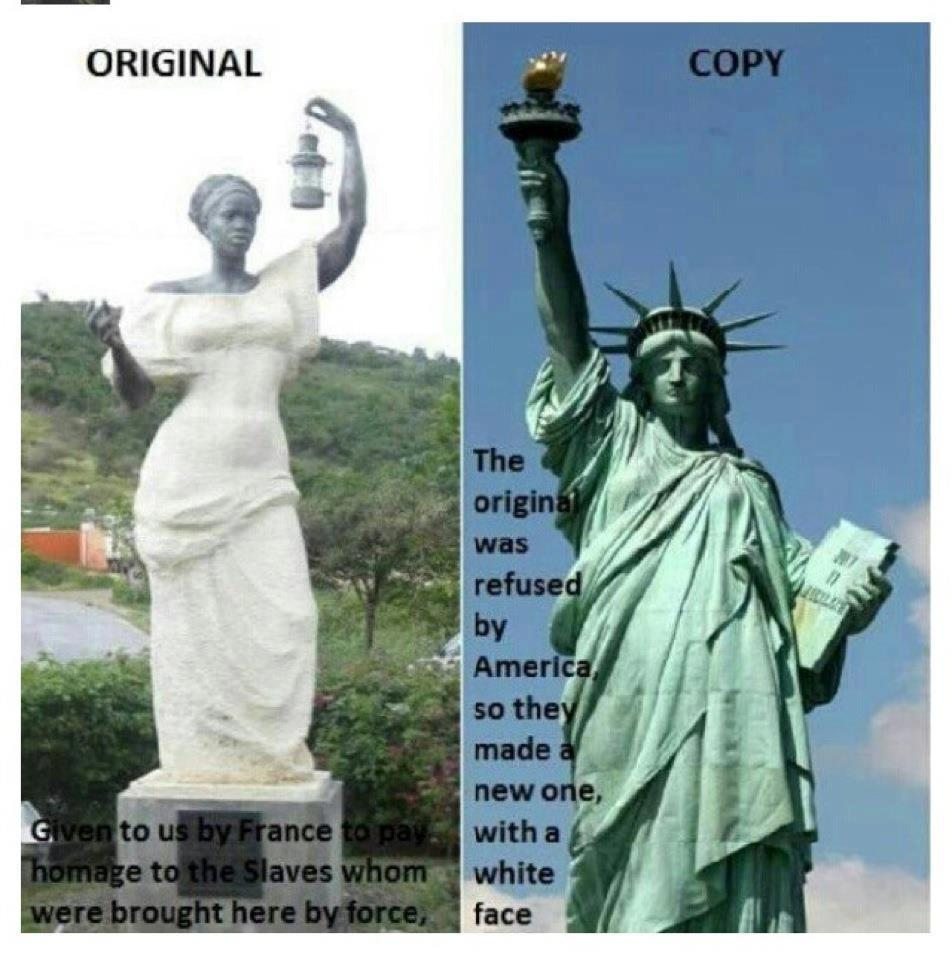 """The Original Statue of Liberty presented to the U.S. was a Statue of a...""""Black Woman"""".   Urban ..."""