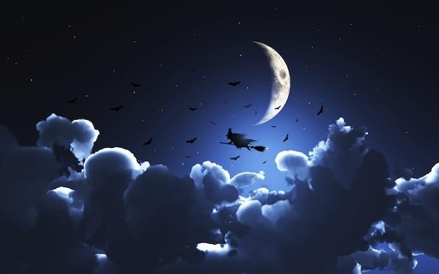 L'éclipse de super Lune dans la nuit de dimanche à lundi ?u=https%3A%2F%2Fimage.freepik.com%2Fphotos-libre%2Fimage-3d-d-39-une-sorciere-volant-au-dessus-de-la-lune-au-dessus-des-nuages_1048-3394