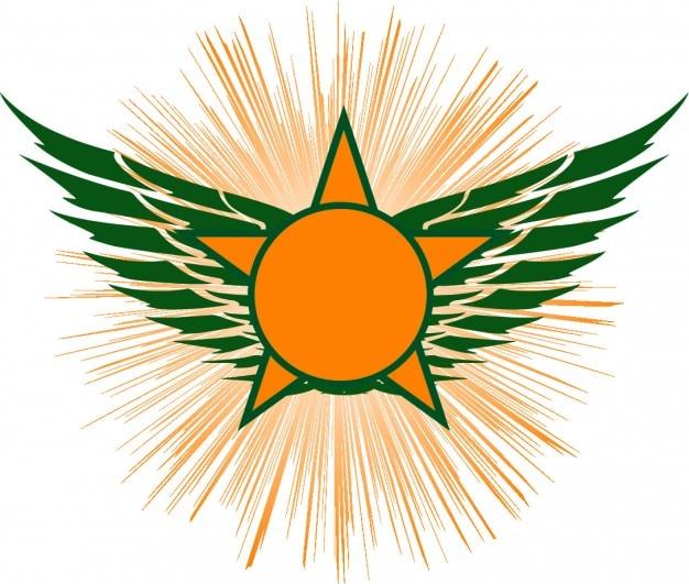 Asas estrela laranja condecoração do ícone do vetor ...