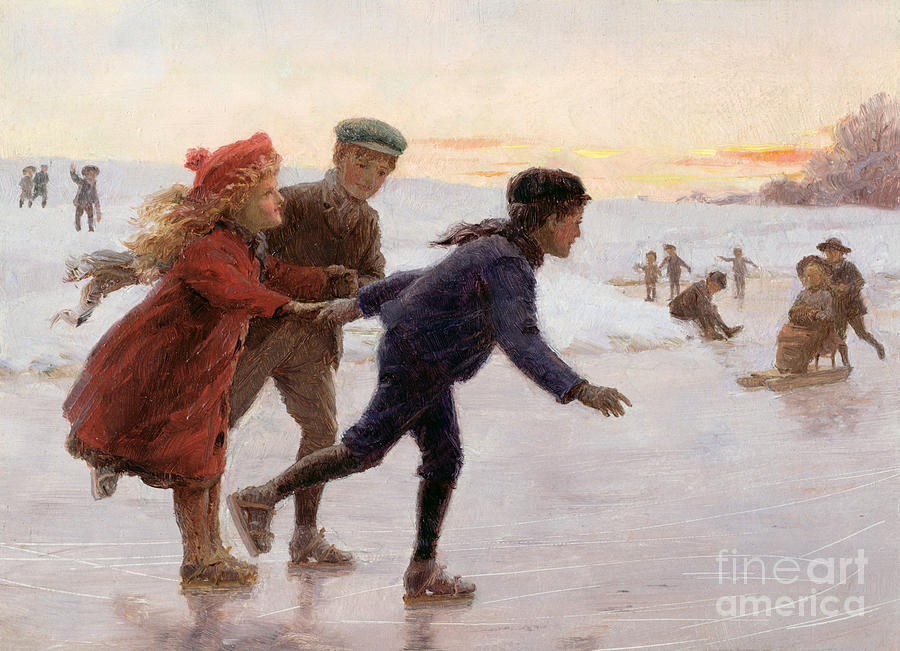 Children Skating Painting by Percy Tarrant