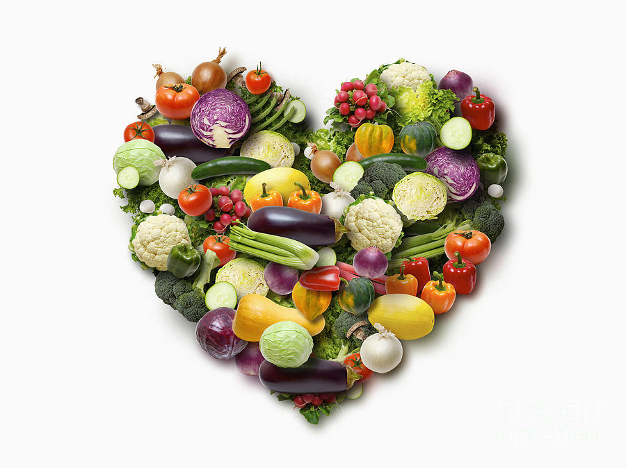 Vegetables Arranged In Heart Shape On White Background ...
