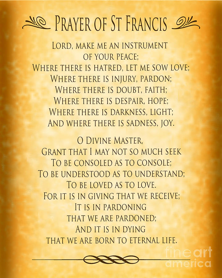 Prayer Of St Francis - Pope Francis Prayer - Gold Parchment Digital Art by Ginny Gaura