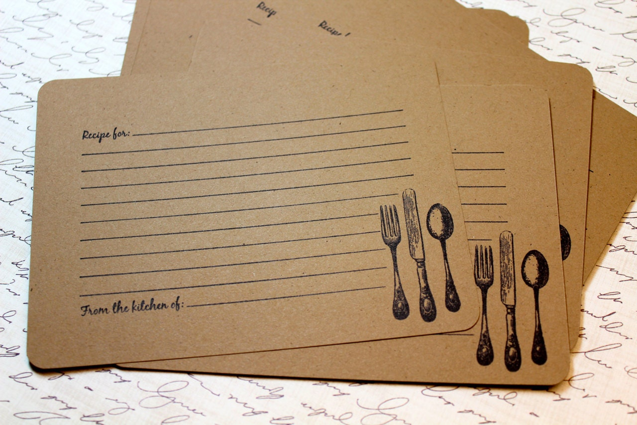 Set of 10 Vintage Inspired Kraft Recipe Cards by ...