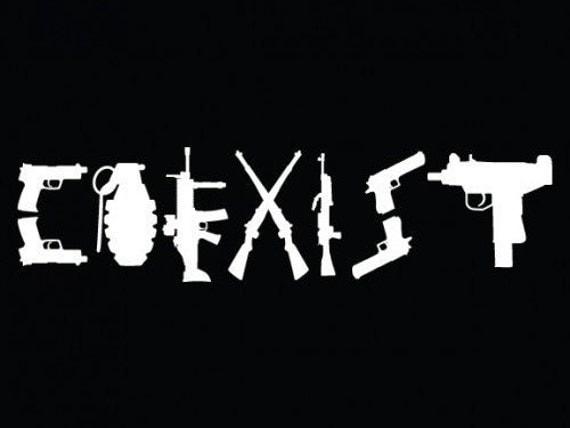 Coexist Gun Sticker - Bing images