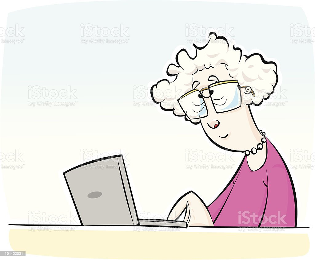 Old Lady Using Laptop Computer Stock Vector Art & More ...