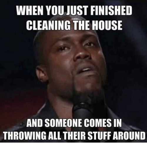 WHEN YOU JUST FINISHED CLEANING THE HOUSE AND SOMEONE ...