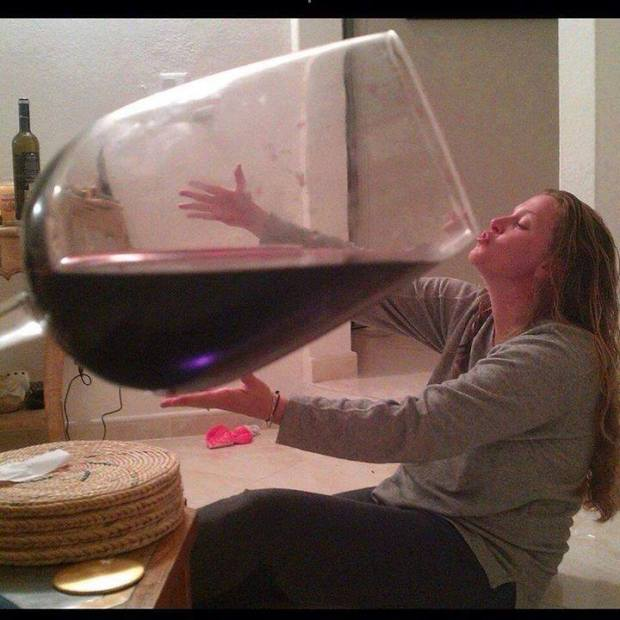 Woman drinks huge glass of wine Â« Richard Wiseman
