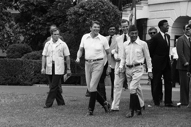 President Reagan Strolling with King Hassan II | Morocco ...