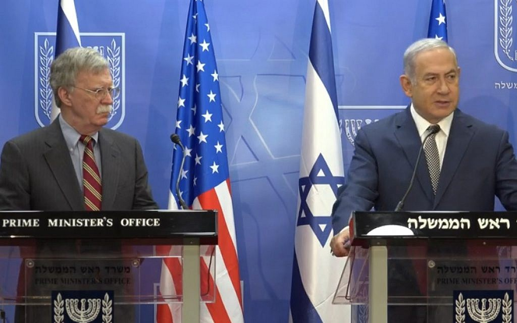 In Jerusalem, Bolton and Netanyahu blast 'wretched ...