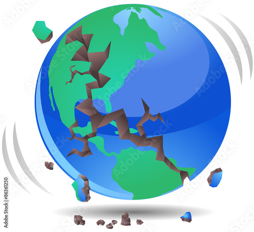 """Earth Quake or world destroyed vector image"" Stock photo ..."